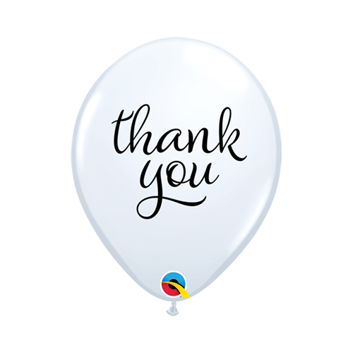 28cm Thank You White Simply Latex Balloons #10064 - Pack of 50