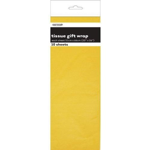 Tissue Sheets Yellow - Each sheet 51cm x 66cm #106285 - Pack of 10