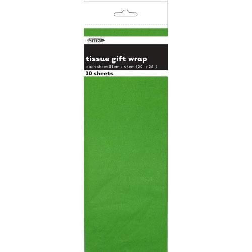 Tissue Sheets Lime Green - Each sheet 51cm x 66cm #106294 - Pack of 10