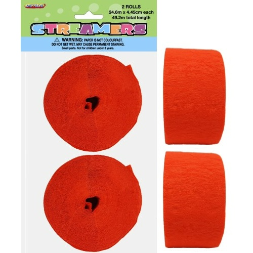 Paper Crepe Streamer Pumpkin Orange  24m (81ft) #1063077 - 2Pk (Pkgd.)