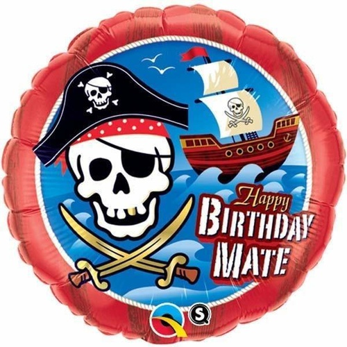 45cm Round Foil Birthday Mate Pirate Ship #11767 - Each (Pkgd.)