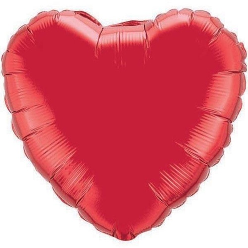 90cm Heart Ruby Red Plain Foil #12657 - Each (Unpkgd.)