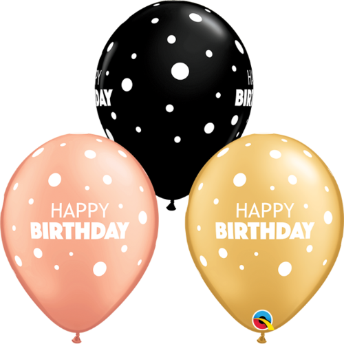 28cm Birthday Big & Little Dots Special Assorted Latex Balloons #1326725 - Pack of 25 TEMPORARILY UNAVAILABLE