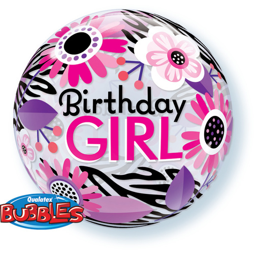 56cm Single Bubble Birthday Girl Floral Zebra Stripes #13738 - Each TEMPORARILY UNAVAILABLE