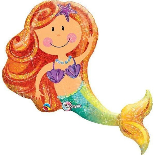 95cm Shape Foil Holographic Merry Mermaid SW #16116 - Each (Pkgd.)