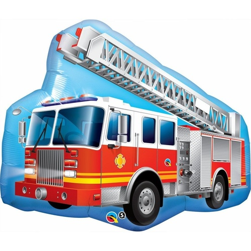 90cm Shape Foil Red Fire Truck SW #16466 - Each (pkgd.) TEMPORARILY UNAVAILABLE