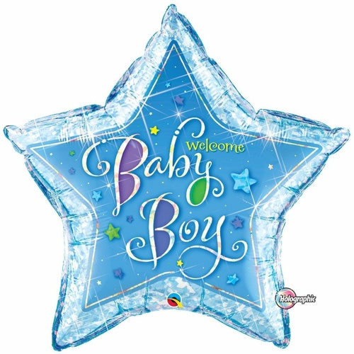 90cm Star Foil Holographic Welcome Baby Boy Stars SW #16614 - Each (Pkgd.)