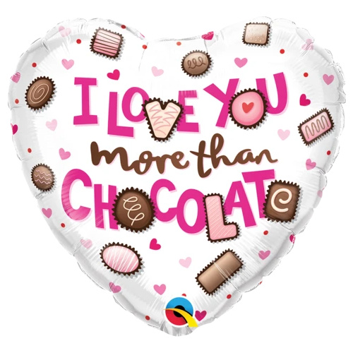 45cm Heart Foil I Love You More Than Chocolate #16678 - Each (Pkgd.)