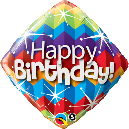 45cm Diamond Foil Birthday Zig Zags & Starbursts #16815 - Each (Pkgd.)