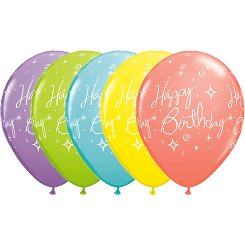 28cm Round Sorbet Assorted Birthday Elegant Sparkles & Swirls Retail Packaging, Ready to Hang #1916710 - Pack of 10
