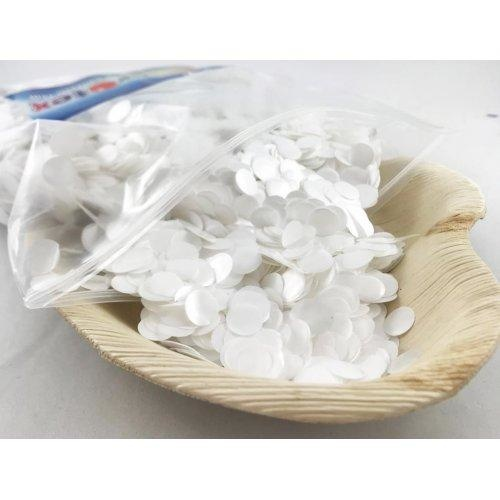 Confetti 1cm Metallic White 250 grams #204611 - Resealable Bag