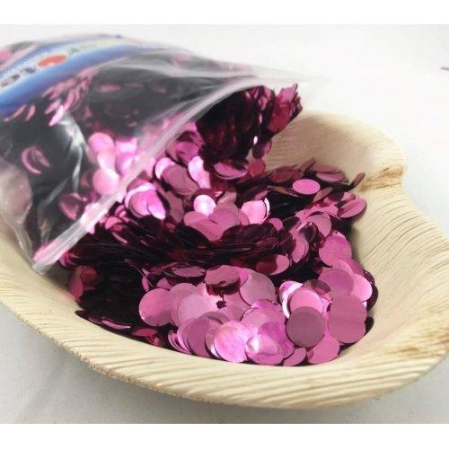 Confetti 1cm Metallic Light Pink 250 grams #204612 - Resealable Bag