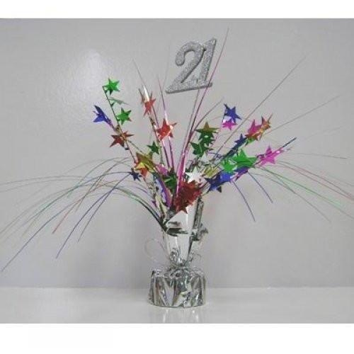 Centrepiece Spray Number 21 Silver with Multi Coloured Stars #207310 - Each