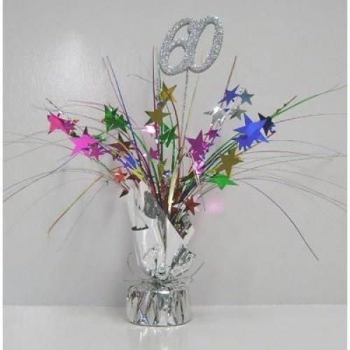Centrepiece Spray Number 60 Silver with Multi Coloured Stars #207330 - Each