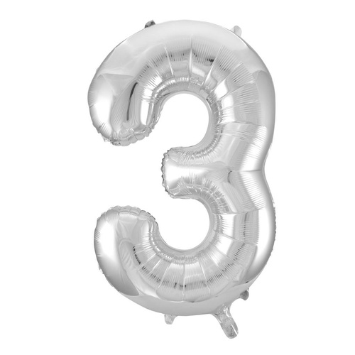 86cm Number 3 Silver Foil Balloon #213703 - Each (Pkgd.) TEMPORARILY UNAVAILABLE