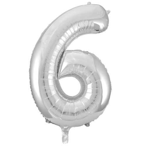 86cm Number 6 Silver Foil Balloon #213706 - Each (Pkgd.)