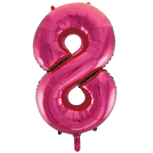86cm Number 8 Magenta Foil Balloon #213728 - Each (Pkgd.)