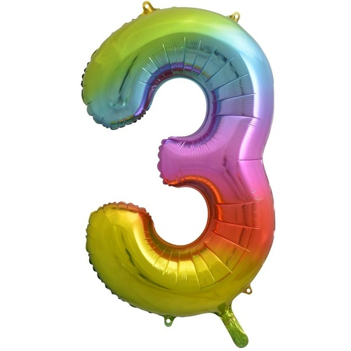86cm Number 3 Rainbow Splash Foil Balloon #213773 - Each (Pkgd.)