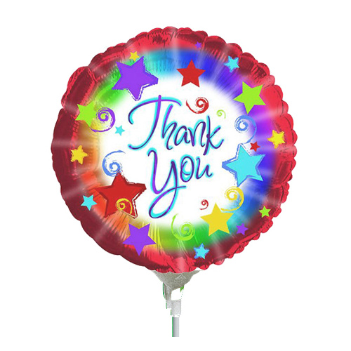 22cm Thank You Burst Foil Balloon #25124667AF - Each (Inflated, supplied air-filled on stick)