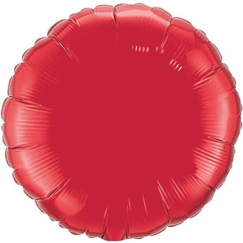 10cm Round Ruby Red Plain Foil Balloon #22833 - Each (FLAT, Requires air inflation, heat sealing)