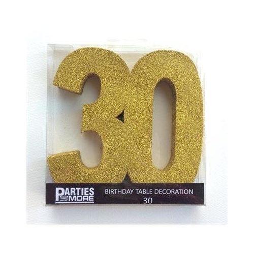 Centrepiece Foam Glitter Number 30 Gold #22CP30G - Each