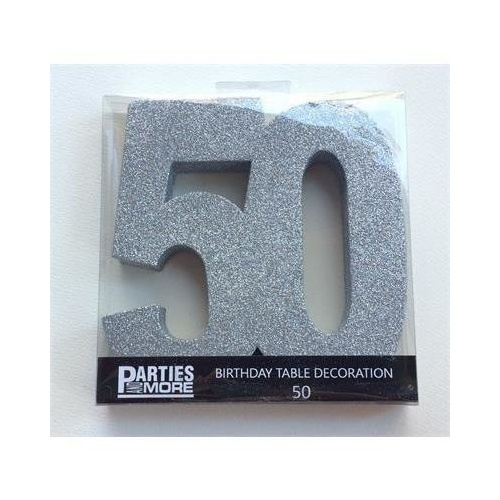Centrepiece Foam Glitter Number 50 Silver #22CP50S - Each TEMPORARILY UNAVAILABLE