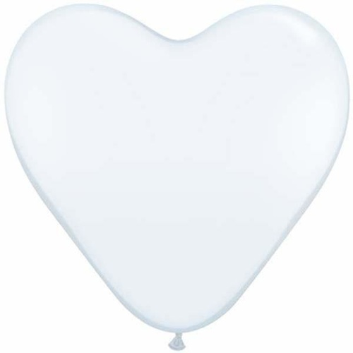 38cm Heart White Qualatex Plain Latex #24019 - Pack of 50