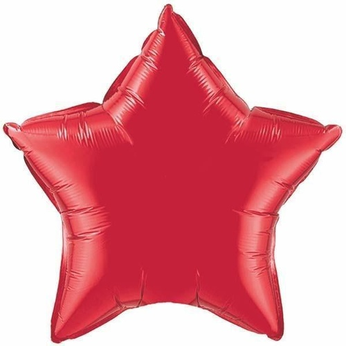 22cm Star Ruby Red Plain Foil Balloon #24134 - Each (FLAT, unpackaged, requires air inflation, heat sealing)