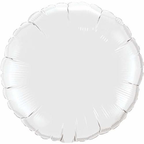 22cm Round White Plain Foil Balloon #24169AF - Each (Inflated, supplied air-filled on stick)