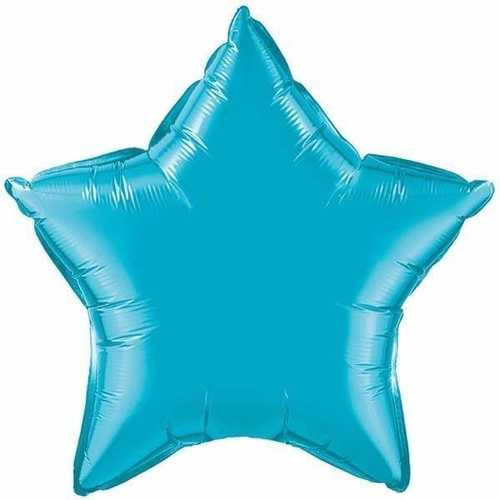 10cm Star Turquoise Plain Foil #24817 - Each (Unpackaged, Requires air inflation, heat sealing) SPECIAL ORDER ITEM