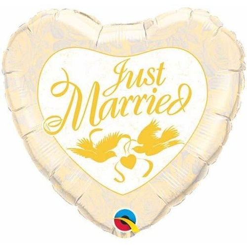 45cm Heart Foil Just Married Ivory & Gold #24961 - Each (Pkgd.) SPECIAL ORDER ITEM