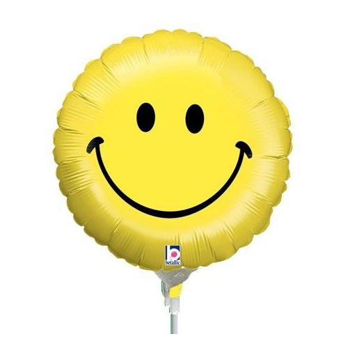 10cm Smiley Face Foil Balloon #2511595 - Each (FLAT, unpackaged, requires air inflation, heat sealing)
