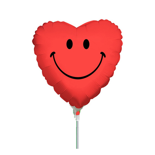 10cm Smiley Face Heart Red Foil Balloon #2511744AF - Each (Inflated, supplied air-filled on stick)
