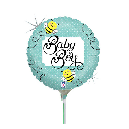 10cm Baby Boy Bee Holographic Foil Balloon #2531160AF - Each (Inflated, supplied air-filled on stick)