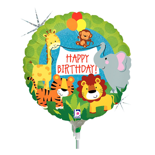 22cm Birthday Jungle Animals Holographic Foil Balloon #2532569AF - Each (Inflated, supplied air-filled on stick)