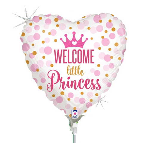 22cm Baby Girl Welcome Little Princess Holographic Foil Balloon #2532713AF - Each (Inflated, supplied air-filled on stick)