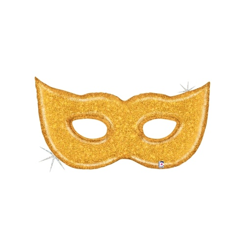 129cm Shape Mask Gold Glitter Foil Balloon #2535916 - Each (Pkgd.)