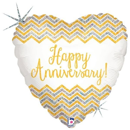 45cm Anniversary Heart Chevron Gold Holographic Foil Balloon #2536164 - Each (Pkgd.)