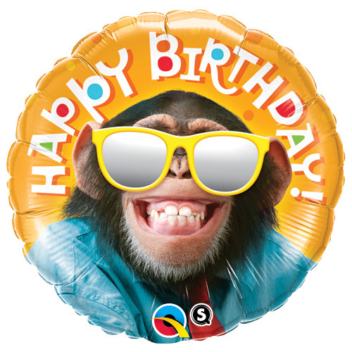 45cm Round Foil Birthday Smilin' Chimp #25496 - Each (Pkgd.) TEMPORARILY UNAVAILABLE
