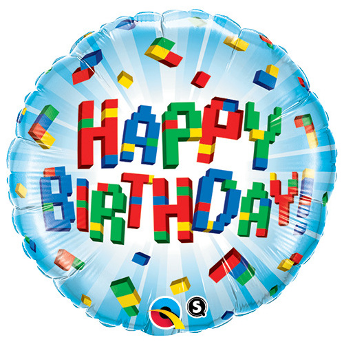 45cm Round Foil Birthday Exploding Blocks #25541 - Each (Pkgd.)