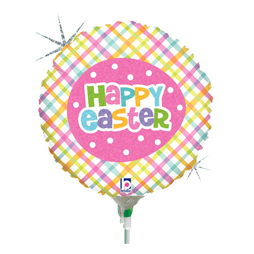 22cm Easter Springtime Plaid Happy Easter Holographic Foil Balloon #2582960AF - Each (Inflated, supplied air-filled on stick)