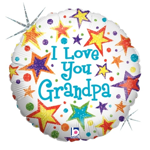 45cm I Love Grandpa Round Holographic Foil Balloon #2586455 - Each (Pkgd.)