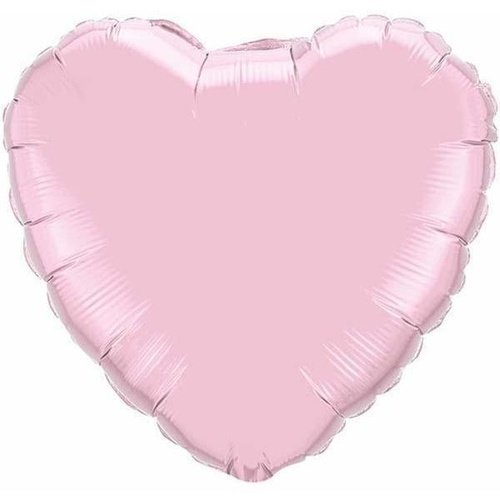 10cm Heart Pearl Pink Plain Foil Balloon #27164 - Each (FLAT, unpackaged, requires air inflation, heat sealing)