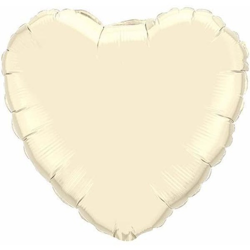 10cm Heart Pearl Ivory Plain Foil Balloon #27165 - Each (FLAT, unpackaged, requires air inflation, heat sealing)