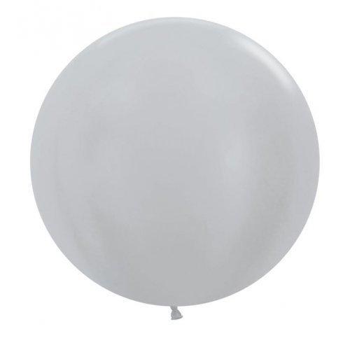 60cm Round Satin Silver Decrotex Plain Latex #30222692 - Pack of 3
