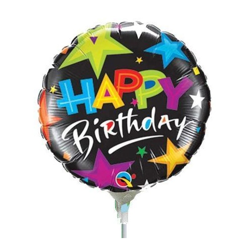 22cm Birthday Brilliant Stars Black #30654AF - Each (Inflated, supplied air-filled on stick)