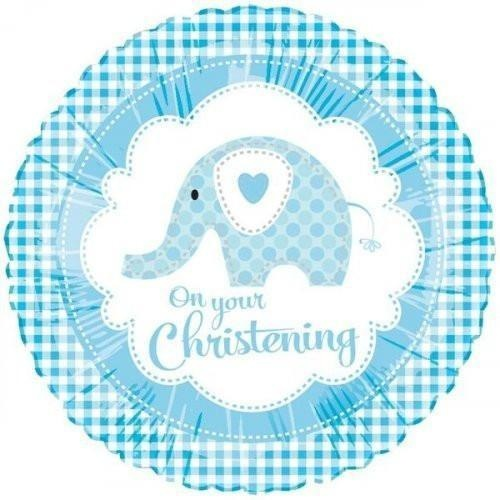 45cm Round Christening Sweet Baby Elephant Blue Foil Balloon #3098820 - Each (Pkgd.)