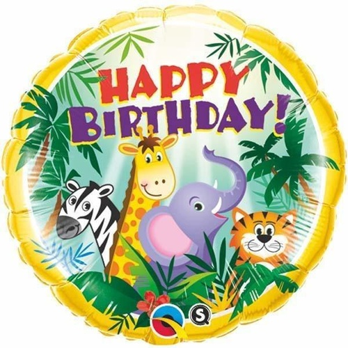 45cm Round Foil Birthday Jungle Friends #31014 - Each (Pkgd.)