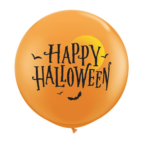 90cm Round Orange Halloween Moon & Bats #31465 - Pack of 2