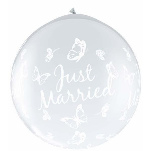 90cm Round Diamond Clear Just Married Butterflies-A-Round #31617 - Pack of 2 SPECIAL ORDER ITEM